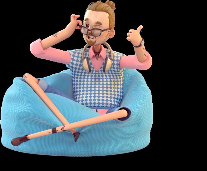 Hisper, ki sedi na beanbag