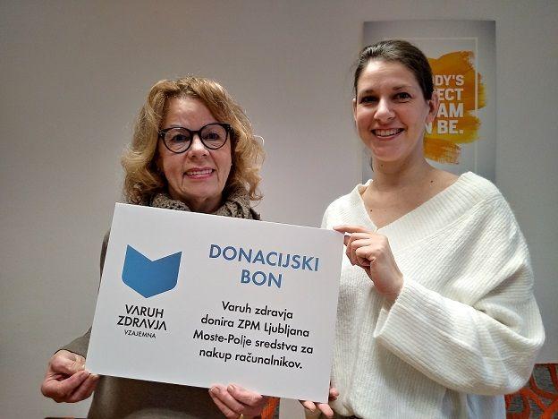 Anita Ogulin In Marusa Kaucic Conde Iz Zpm Ljubljana Moste Polje Ob Prejemu Donacije Varuha Zdravja