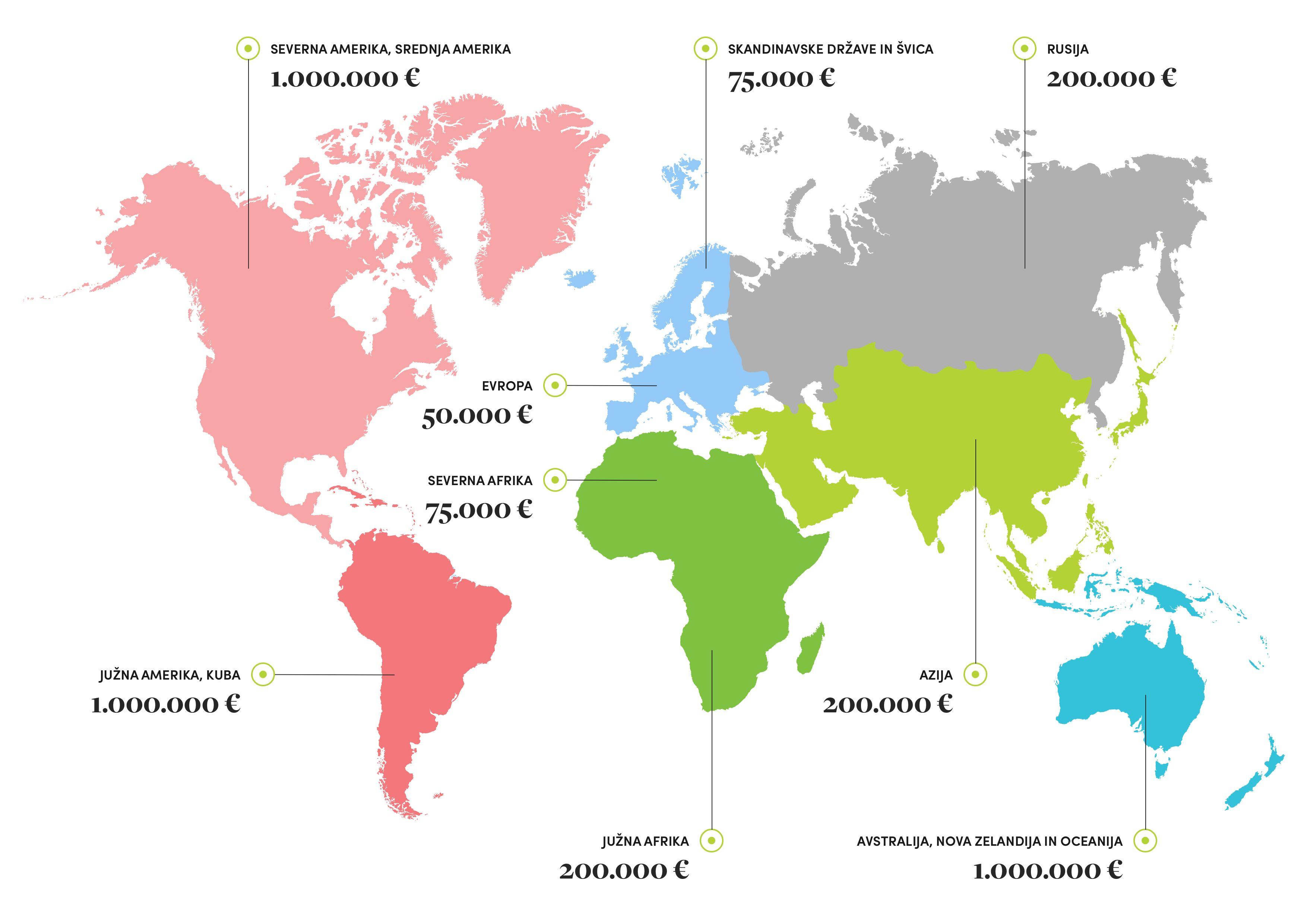 Zemljevid Tujina V4